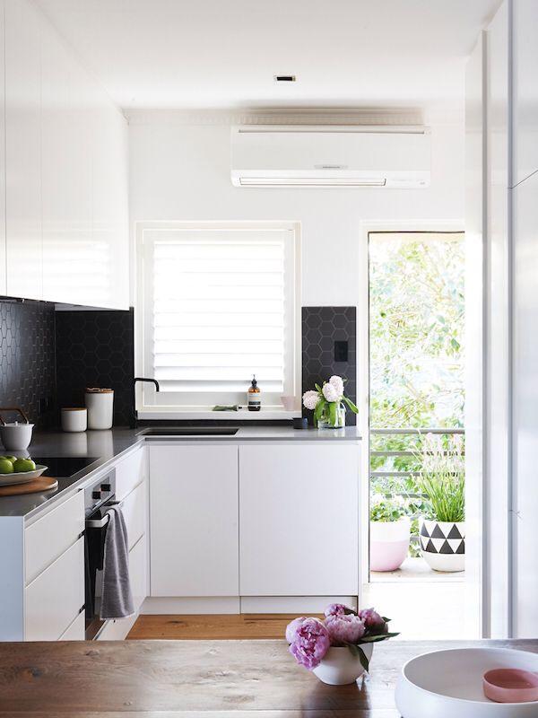 Kitchen. White. Black. Clean. Lines. Fresh.
