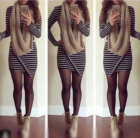 Black Striped Irregular Long Sleeve Dress: