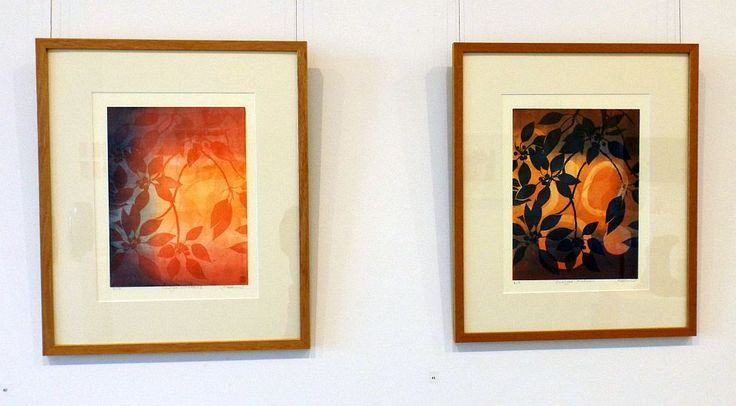 Jo Hollier - Sunshine and Shadow I and II - viscosity monoprint - 2014, Strathnairn by the Lake exhibition, Belconnen Arts Centre, August-Sept 2014
