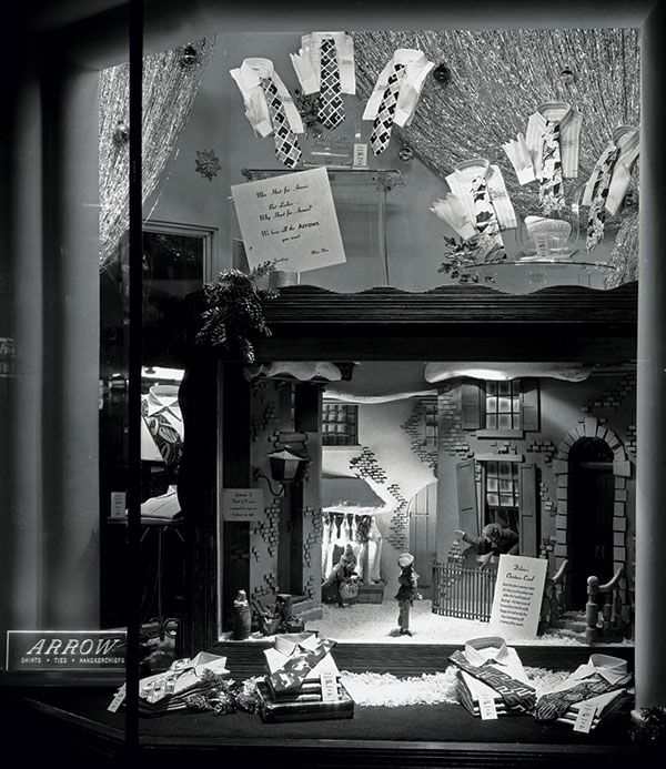 retro retail stores a festive display for arrow shirts and ties at shears 1948