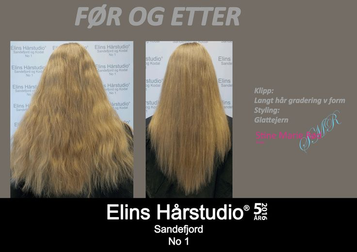 Dameklipp langt hår gradering v form