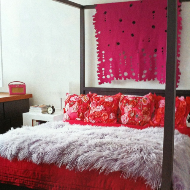 Canopy bed + draped fabric