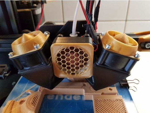 New Dual Duct to Ender 2 / 3, Creality CR10  40mm fans, don't worry