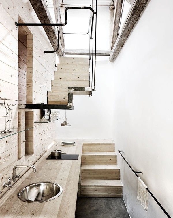 Blacksmith's workshop in Lesbos, Greece - kitchen and staircase