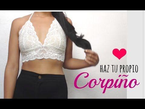 como hacer un top de encaje   how to make a lace bralette - YouTube