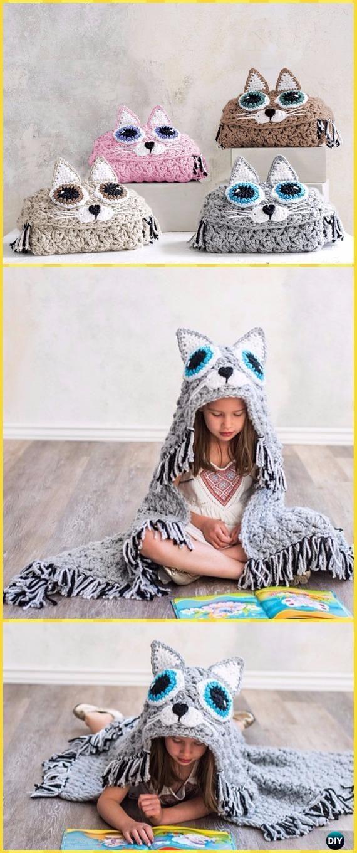 Crochet Bulky & Quick Cat Blanket Paid Pattern- Crochet Hooded Blanket Patterns
