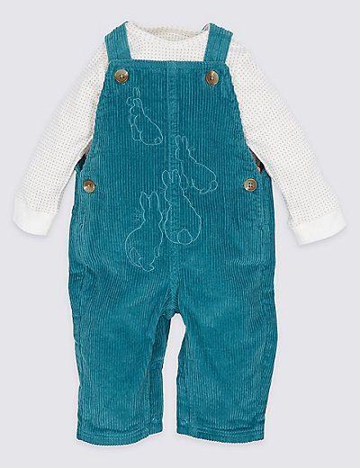 Pure Cotton Peter Rabbit™ Bodysuit & Dungarees Outfit   M&S