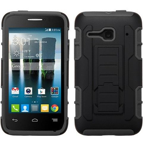 MYBAT Robotic Armor Alcatel OneTouch Evolve 2 Case - Black/Black
