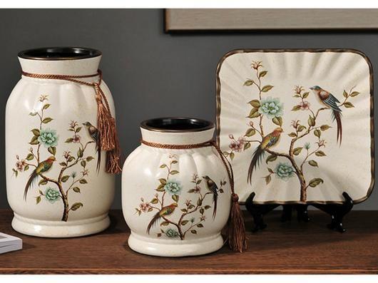 Spring Collection- 3 Piece Ceramic Vase Set -  Green Bird Meadow