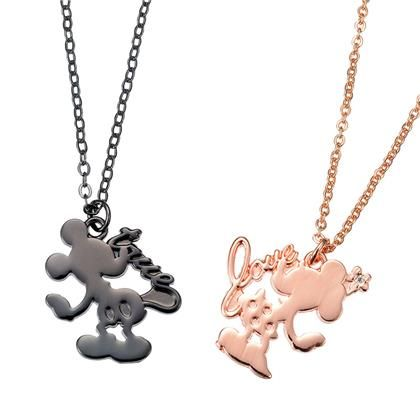 Mickey & Minnie Pair Silhouette Necklaces