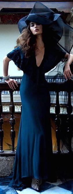 Roberto Cavalli navy blue gown maxi dress & derby hat