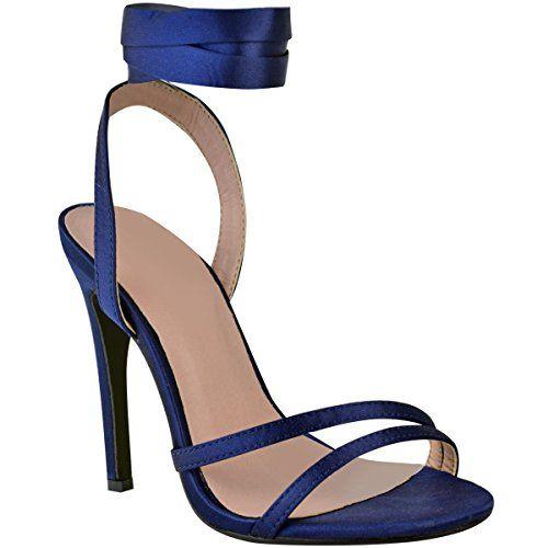 Sandales à Talons Hauts - Femme - Bride Cheville Lacet Satiné -  Mariage Fête - Satiné Bleu Marine - EUR 41 68a954338e9