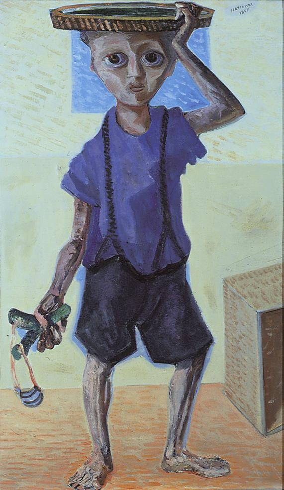 Boy with slingshot(1957) - Oil on Canvas - Candido Portinari.