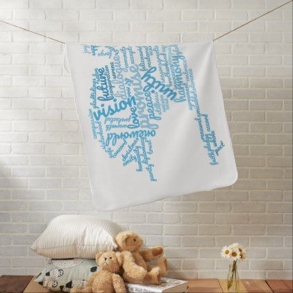 Inspirational Elegant Dove of Peace Tag Cloud Baby Blanket - elegant gifts gift ideas custom presents