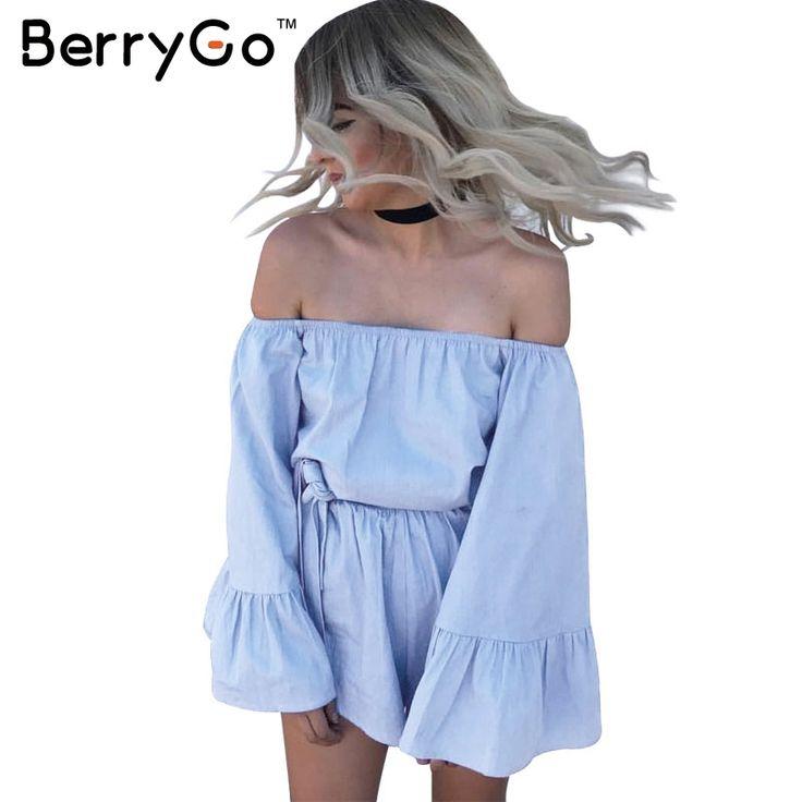 BerryGo Flare sleeve off shoulder jumpsuit romper Elegant ruffle summer beach short playsuit Casual bow blue women overalls #Affiliate