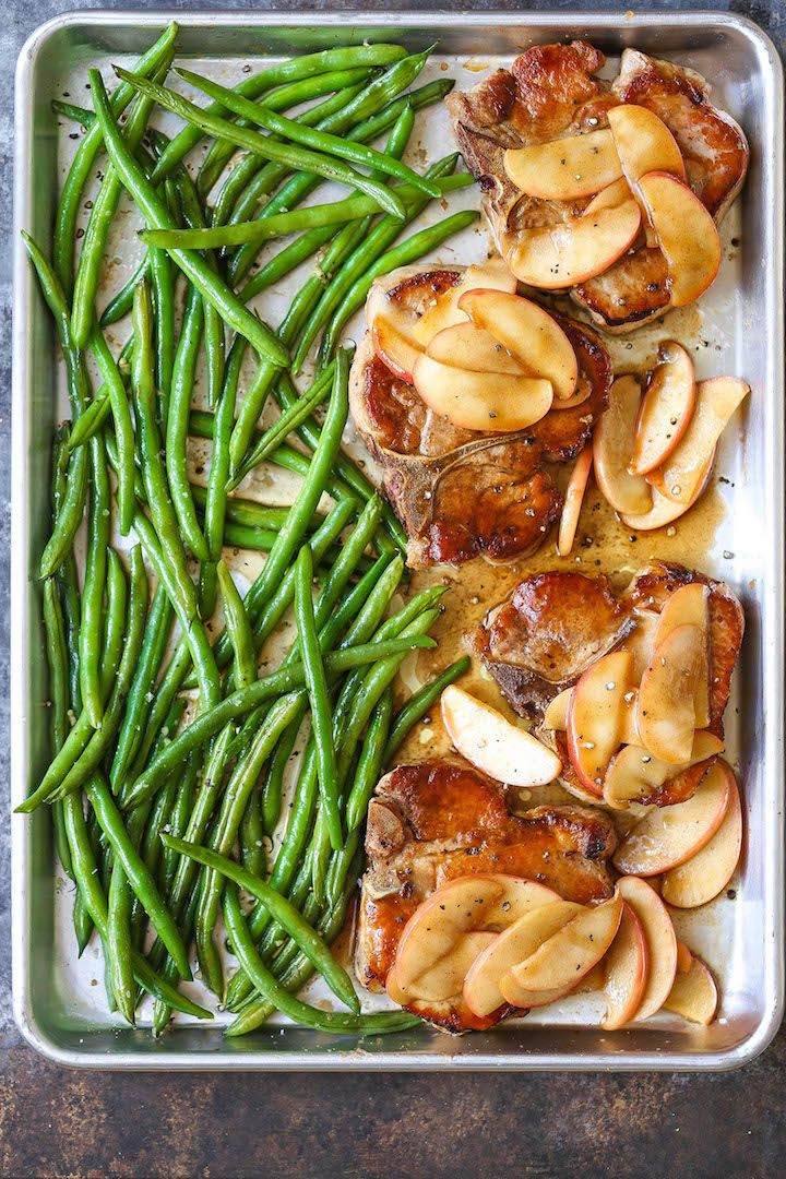 This one pan baked apple pork chops and green beans recipe is a quick and easy dinner that can be assembled ahead of time and baked right before serving. Easy peasy!