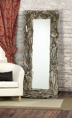 22x50 FloorMirror Eco Friendly Driftwood Mirrors in wood  with sustainable Repurposed Mirror Ecofriendly driftwood