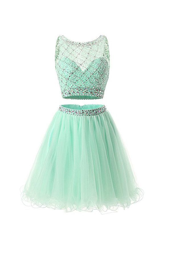 Two Piece Mint Tulle Homecoming Dresses,Prom Dresses,5738