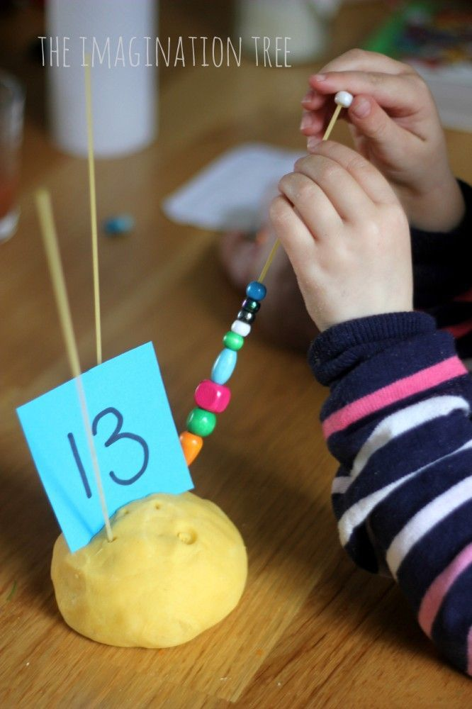 """Counting & Patterning with Play Dough, Spaghetti & Beads - fab for developing fine motor skills, practising counting, recognising numerals & making simple patterns in a hands-on, open-ended way - from The Imagination Tree ("""",)"""