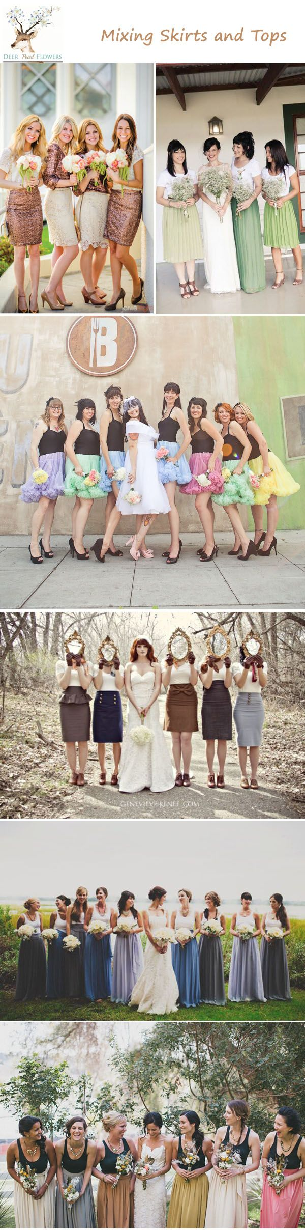 unique bridesmaid dress ideas - mixing skirts and tops mismatched bridesmaid dress / http://www.deerpearlflowers.com/top-6-ways-to-do-mismatch-bridesmaid-dresses/