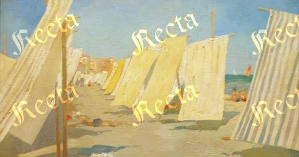 Olio su cartone telato 35cm x 50cm  ♦  Recta Galleria d'arte -  Roma - Pittori e dipinti dell'ottocento e novecento, arte e scultura 800 e primo 900