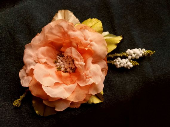 Brooch,wedding dress accessories, flower  pin, floral hairpiece, bridal dress accessory, peach puff color flower,100% handmade.