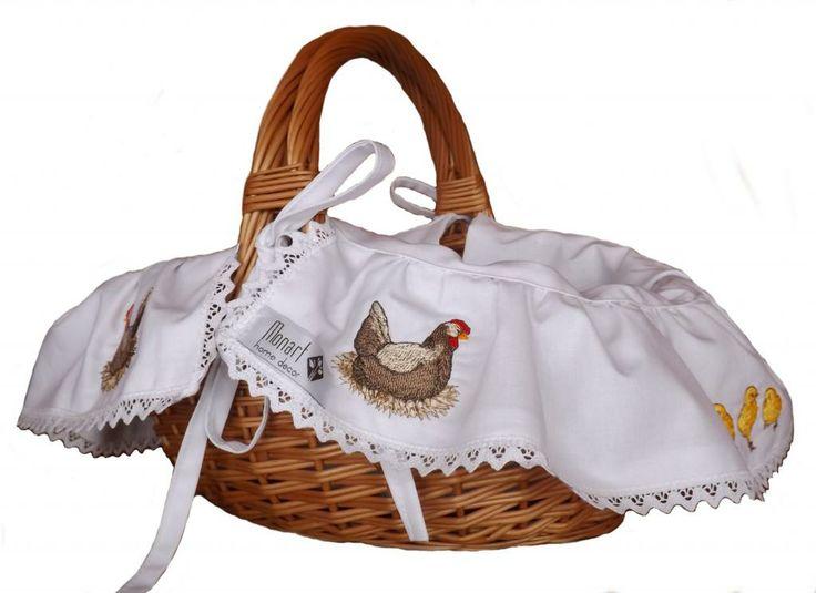 Koszyk, koszyczek Wielkanocny KURA haftowany