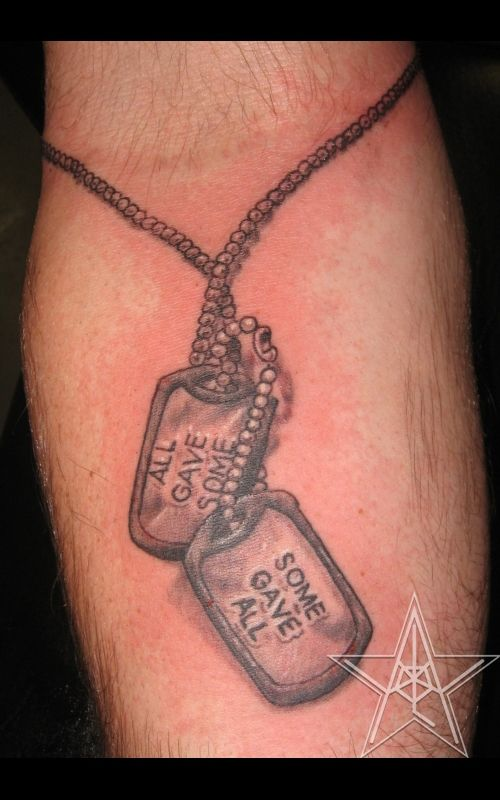 Military Dog Tags Tattoo On Back