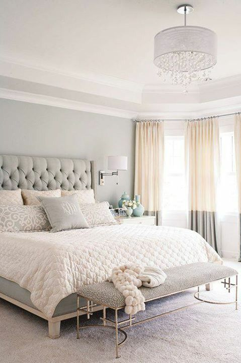 @Shannon Spinazzola Neutral bedroom - Could do this grey and off-white and then do the cool antique finishes for the other guest bedroom...