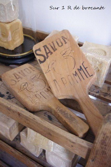 hand made French soap and laundry paddles