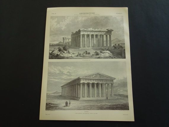 1875 old pictures of Parthenon in Athens by DecorativePrints