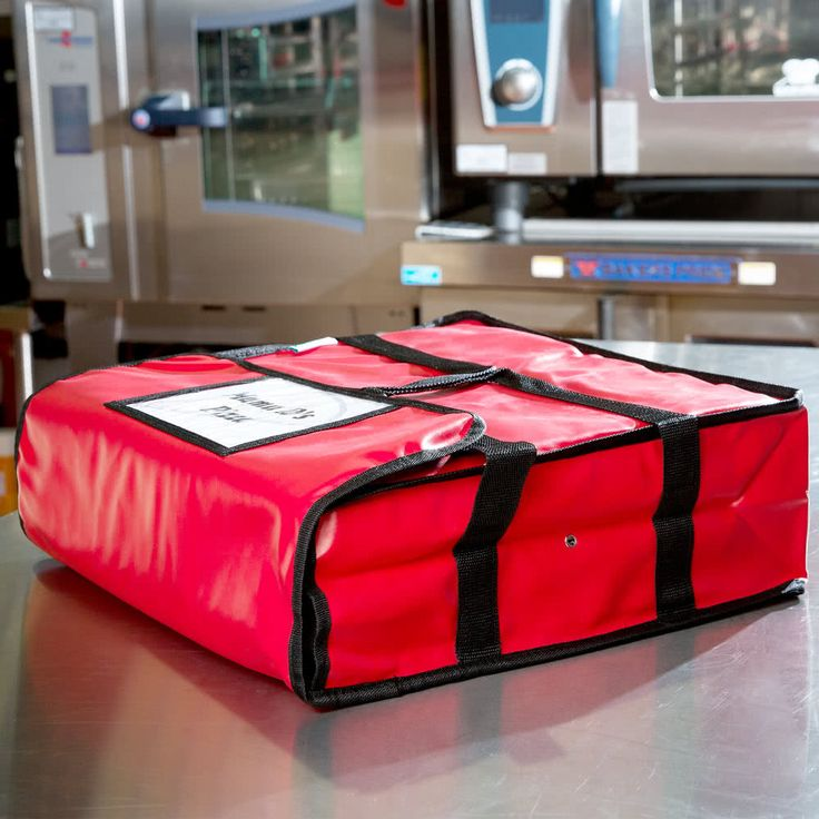 """Insulated Pizza Delivery Bag, Red Vinyl, 18"""" x 18"""" x 5"""" - Holds up to (2) 16"""" or (1) 18"""" Pizza Boxes"""