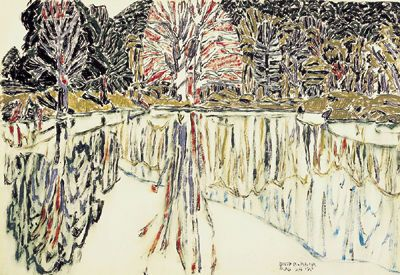 David Milne, Pink Reflections, Bishop's Pond, watercolour on paper, 1920