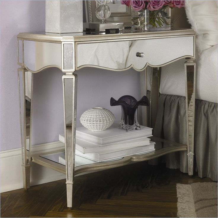 jessica mcclintock couture mirrored nightstand in silver leaf by american drew