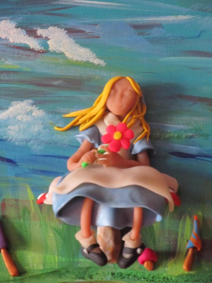 Trudi Inglis - Blue Kiwi Krafts  Polymer Clay on painted wood