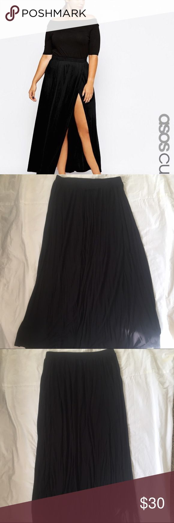ASOS Curve Maxi Skirt With Split Black maxi skirt with a split down the side. Great condition, only worn a few times. ASOS Curve Skirts Maxi