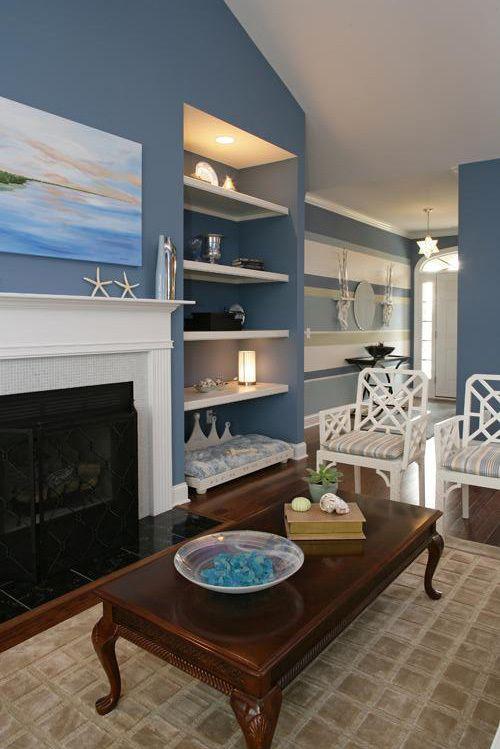 blue and white coastal beachy living room