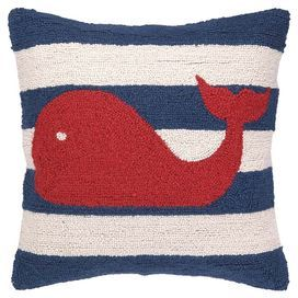 """Lend a touch of nautical flair to your sofa, arm chair, or window seat with this delightful handmade pillow, showcasing a whale and stripe motif.   Product: PillowConstruction Material: Wool and velvet cover and polyester fill Color: RedFeatures:  Whale and stripe motifInsert included Handmade Hidden zippered closure Velvet backingDimensions: 18"""" x 18"""" Cleaning and Care: Spot clean recommended"""