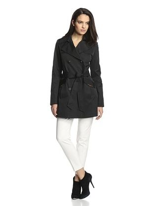 55% OFF Via Spiga Women's Double-Breasted Trench (Black)