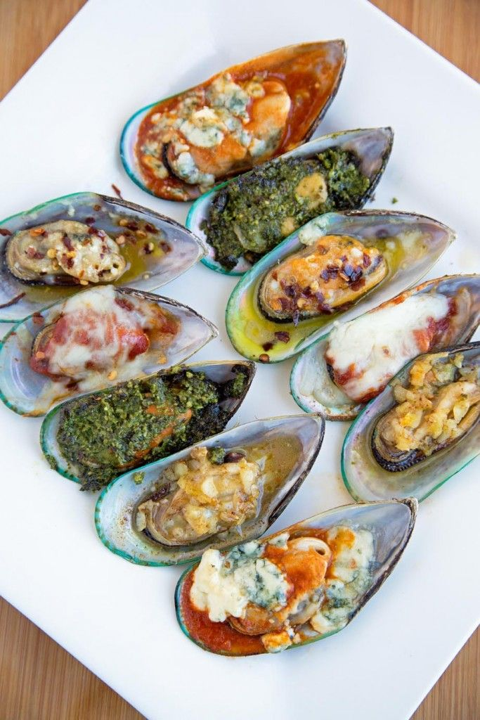 Mussels served 5 Ways -Pesto, Garlic, Italiano, Buffalo, Diablo
