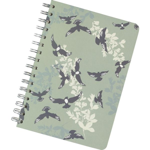 Fat Face A5 Spiral Bird Notebook (15 BRL) ❤ liked on Polyvore featuring home, home decor, stationery, fillers, books, notebooks, accessories, stuff, green haze and magazine