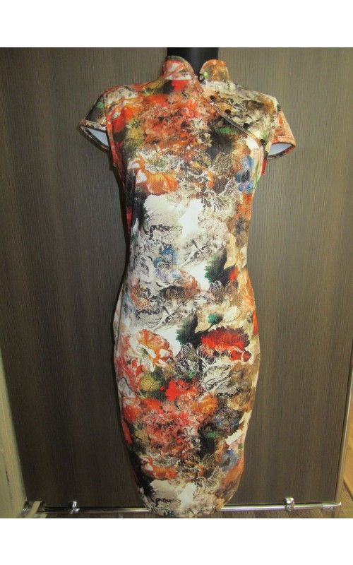 Envy őszi mintás japánnyakú ruha