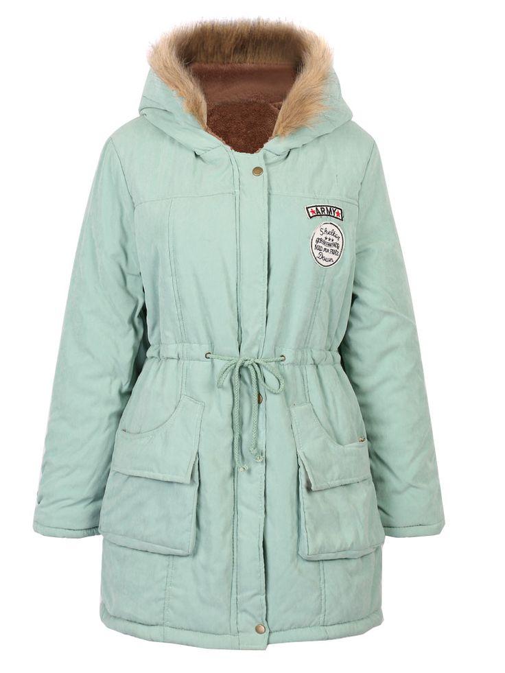 Light Blue Pocket Patch Detail Faux Fur Hooded Parka Coat