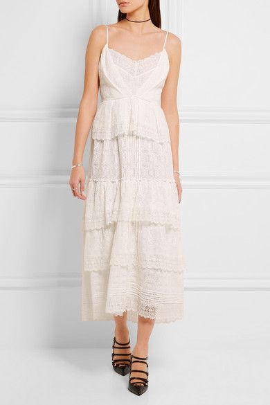 Ivory crocheted cotton-blend lace Button and concealed hook and zip  fastening at back 72