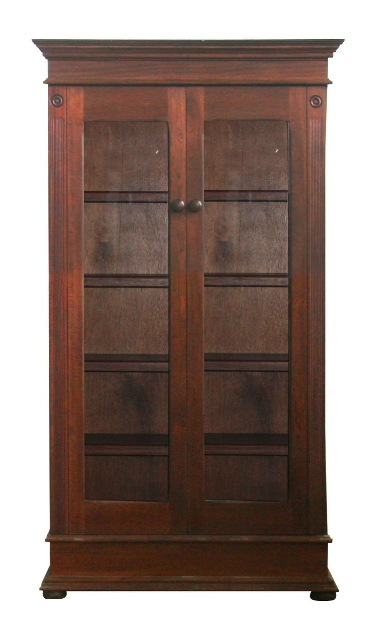 Lampung Tall Bookcase With Glass Doors | Wetherlys