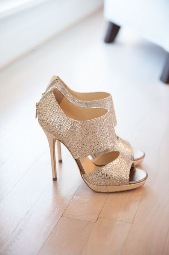 Jimmy Choo perfection, gold high heels.