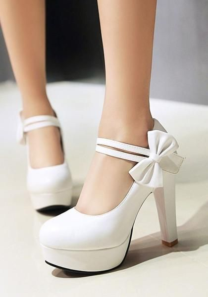 74dbac57c22 White Round Toe Chunky Bow Fashion High-Heeled Shoes in 2019