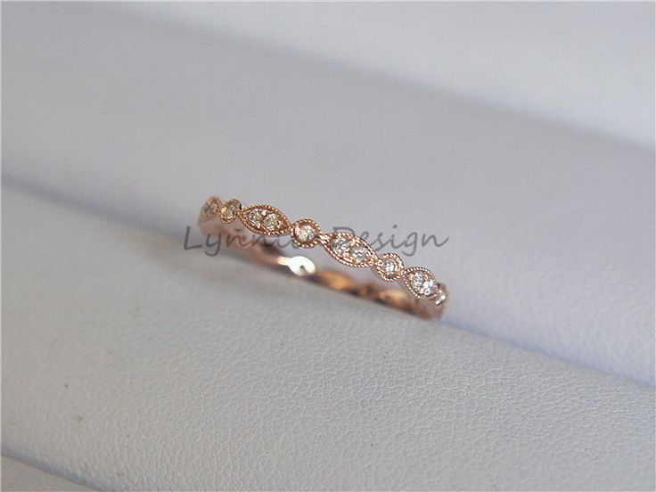 Brilliant Cut Diamond Wedding Band Milgrain Ring 14K Rose Gold Diamond Engagement Band Full Eternity Promise Band Diamond Matching Band by LynnLinDesign on Etsy https://www.etsy.com/listing/458156364/brilliant-cut-diamond-wedding-band