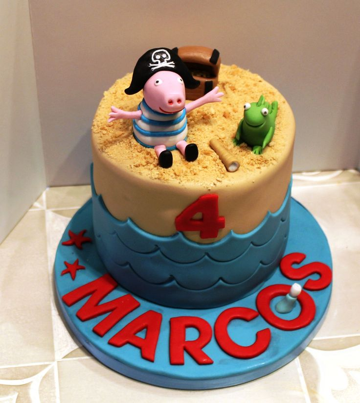 Tarta George Pig pirata, Sabor bizcocho de chocolate y relleno de vainilla. -George Pig Pirate cake, chocolate cake flavor and vanilla filling