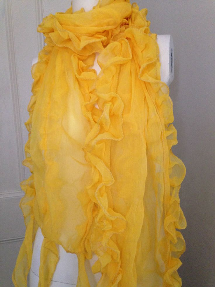 Scarf in Bright Yellow Frilly Design